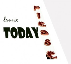 "graphic with the text ""donate"" and ""today"" and ""please"""