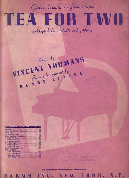 "Sheet music cover for ""Tea for Two"""