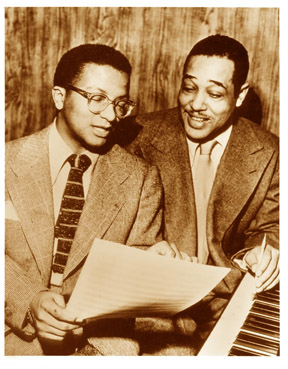 Billy Strayhorn and Duke Ellington, at a piano
