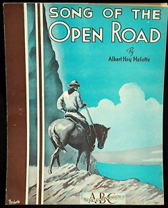 "Vintage sheet music cover of ""Song of the Open Road"""