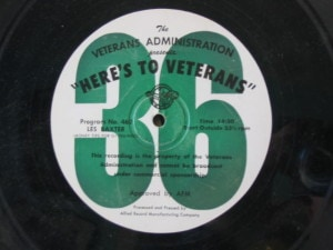 disc label for Here's to Veterans 462