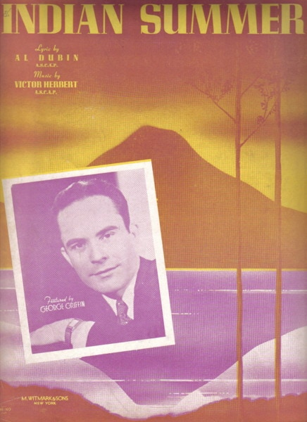 "Vintage sheet music cover for ""Indian Summer"""