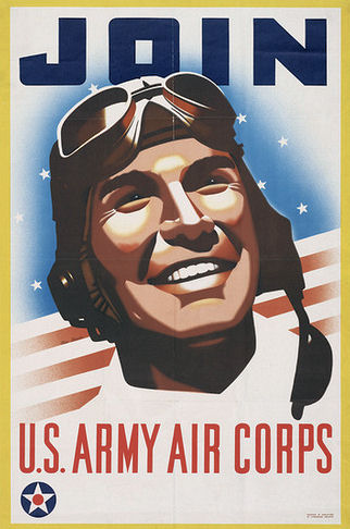 "Vintage recruiting poster, graphic of smiling airman in goggles against flag backdrop.  Text reads ""Join U.S. Army Air Corps"""