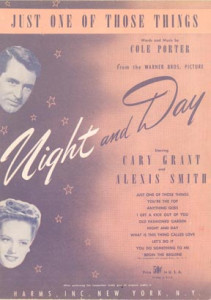 "Vintage sheet music cover of ""Just One of Those Things"" from ""Night and Day"""