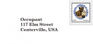 "Envelope graphic, with fake stamp of CHRS logo marked ""donation"", and addressed ""Occupant, 117 Elm Street, Centerville, USA"""