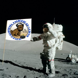 Photo of astronaut on the moon, raising the flag with the CHRS logo