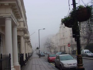 PIcture of modern London street, with foggy background