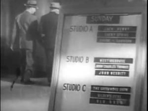 NBC radio station lobby sign, indicating shows recording in studios A, B and C
