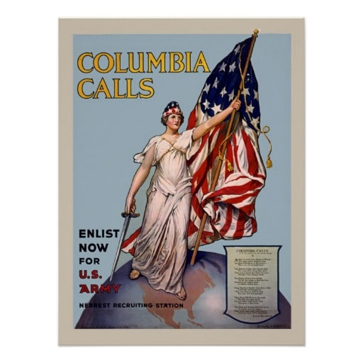 Vintage Recruiting Poster Of Columbia Holding A U.S. Flag, With The Words